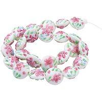 Pandahall Elite 24 Pcs Bumpy Lampwork Glass Beads Flat Round Flower Spacer Bead for Jewelry Making, White