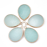 Natural White Jade Pendants, with Brass Findings, Dyed, teardrop, Golden, 30.5x21~22x3~3.5mm, Hole: 2mm