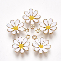 Nbeads  Alloy Pendants, with Enamel, Flower, Light Gold, White, 19x15x4mm, Hole: 1.5mm