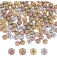 PandaHall Elite 120pcs 8mm 4 Colors Tiny Spacer Beads Corrugated Round Metal Beads Tibetan Metal Loose Beads for Necklace Bracelet Jewelry Making, Hole: 1mm