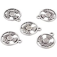 Arricraft 50pcs Tibetan Style Alloy Pendants Flat Round with Flower Scotland Thistle Charms Antique Silver Necklace Pendants for Women Men Jewelry Making Crafting