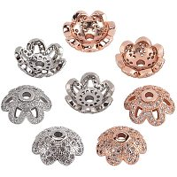 NBEADS 2 Styles 2 Colors Flower Beads Cap, 8 Pcs Brass Cubic Zirconia Jewellery End Charm for DIY Crafts Making