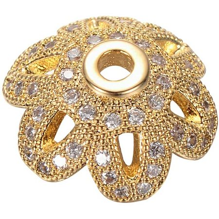 PandaHall Elite 10 Pcs Cubic Zirconia Flower Bead Caps Brass Spacer Beads for Bracelet Necklace Jewelry Making, Gold
