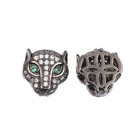 NBEADS 10PCS Environmental Brass Micro Pave Cubic Zirconia Gunmetal Leopard Head Beads Clear Gemstones CZ Leopard Head Bracelet Connector Charm Beads, 11x11x6.5mm