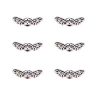 Tibetan Style Alloy Beads, Fairy Wing, Lead Free, Antique Silver, 4x14x4mm, Hole: 2mm; 200pcs/box