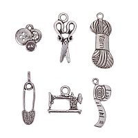 ARRICRAFT 5 Sets(6pcs/set) Sewing Knitting Theme Tibetan Style Alloy Pendants Lead Free Antique Silver