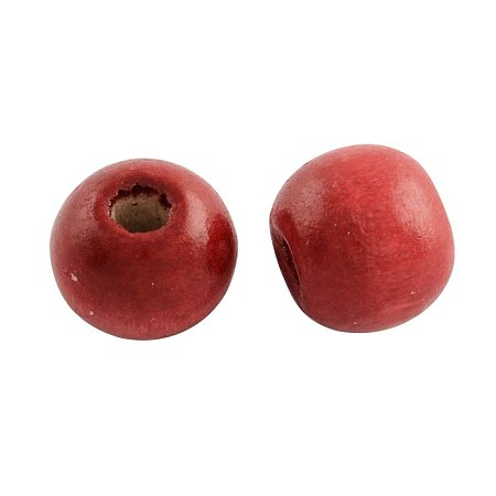 NBEADS 1000g Dyed Wood Beads, Round, Lead Free, Red, 8x7mm, Hole: 3mm; about 6000pcs/1000g