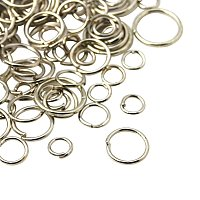 NBEADS 500g Iron Jump Rings, Close but Unsoldered, Mixed Size, Platinum, 4~10mm