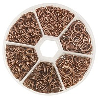 PandaHall Elite 1 Box Red Copper Iron Plated Jump Rings Diameter 4mm to 10mm Jewelry Connectors Chain Links Nickel Free, about 1745pcs/box