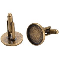 Arricraft 20pcs Brass Cufflinks Findings Men's Button Covers Findings Antique Bronze Cuff Links with Tray for Tuxedo Business Formal Wedding Shirts