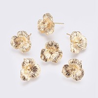 NBEADS Brass Stud Earrings Findings, with Loop, For Half Drilled Beads, Long-Lasting Plated, Flower, Nickel Free, Real 18K Gold Plated, 16x3mm, Hole: 0.8mm; Pin: 0.8mm