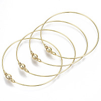 ARRICRAFT Brass Bangle, with Round Magnetic  Clasps, Nickel Free, Real 18K Gold Plated, Inner Diameter: 2-3/8 inches(6cm)