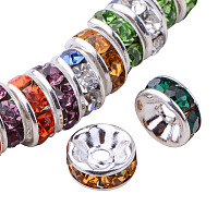 PandaHall Elite Brass Nickel Free Grade A Rhinestone Rondelle Spacer Beads Mixed Colors 8x3.8mm for Craft Making, about 50pcs/bag