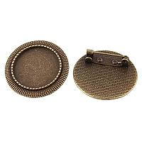 ARRICRAFT 100pcs Antique Bronze Flat Round Tray Vintage Alloy Brooch Cabochon Bezel Settings with Iron Pin Back Bar Findings