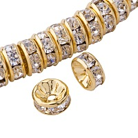 PandaHall Elite 50 Pcs Rondelle Nickel Free Grade AAA Brass Rhinestone Straight Flange Spacer Beads Golden 8x3.8mm for Craft