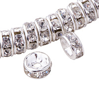 PandaHall Elite Rondelle Silver 6x3mm Grade AAA Brass Rhinestone Straight Flange Spacer Beads for Craft Nickel Free