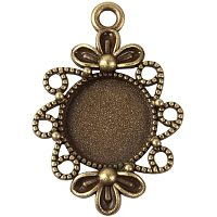 NBEADS 1000g Vintage Tibetan Flower Framed Bezel Pendant Trays Flat Round Cabochon Settings,Antique Bronze,Nickel Free,Tray: 12mm; 30x21x3mm,Hole: 2mm;About 384pcs/kg