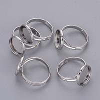 Adjustable Platinum Brass Finger Ring Findings Pad Ring Bases, Nickel Free, 17mm; Tray: 12mm inner diameter