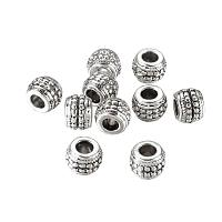 NBEADS 10 Pcs Antique Silver Large Hole Alloy European Beads Rondelle Charm Beads fit Bracelet Jewelry Making, Lead Free & Cadmium Free & Nickel Free
