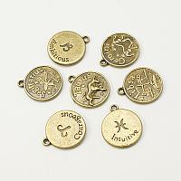 Arricraft Tibetan Style Pendants, Flat Round with Mixed Constellation/Zodiac Sign, Nickel Free, Antique Bronze, 20x17x2mm, Hole: 2mm