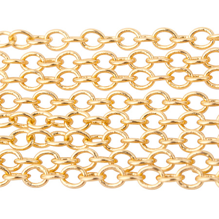 PandaHall Elite 5 Yard Nickel Free Color-Keeping Brass Cross Chains Size 2x1.5x0.5mm Golden 16 Feet Jewelry Making Chain