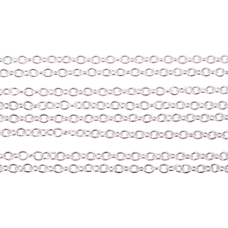 PandaHall Elite 5 Yard Nickel Free Color-Keeping Brass Cross Chains Size 2x1.5x0.5mm Silver 16 Feet Jewelry Making Chain