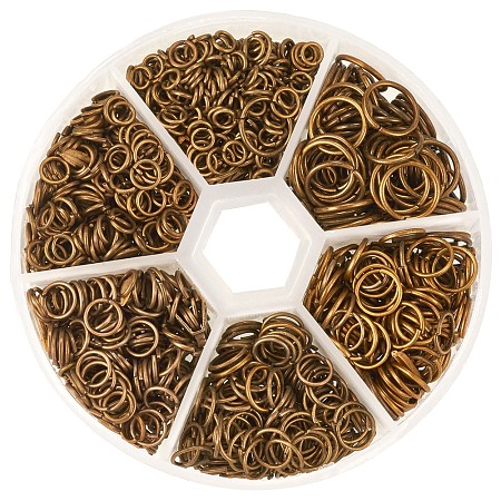 PandaHall Elite 1745pcs/box Iron Plated Jump Rings 4mm to 10mm in Diameter Antique Bronze for Jewelry Making