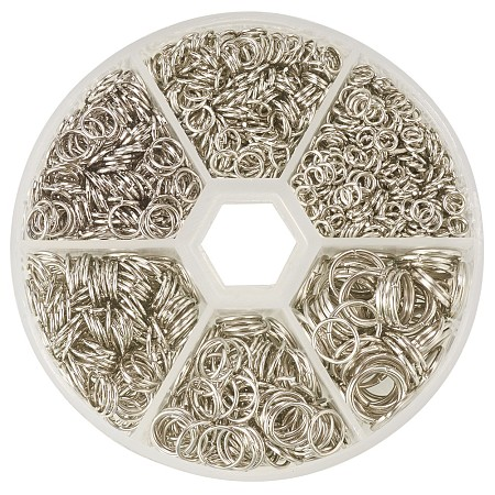 PandaHall Elite 1 Box Platinum Iron Plated Jump Rings Diameter 4mm to 10mm Jewelry Connectors Chain Links Nickel Free, about 1745pcs/box