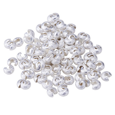PandaHall Elite Brass Crimp Beads Covers Nickel Free Silver Craft Assortments 4mm, about 100pcs/bag