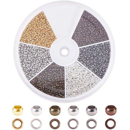PandaHall Elite 5700 Pcs 6 Colors 2mm Brass Tube Crimp Beads Cord End Caps Diameter 2mm for Jewelry Making 6 Colors