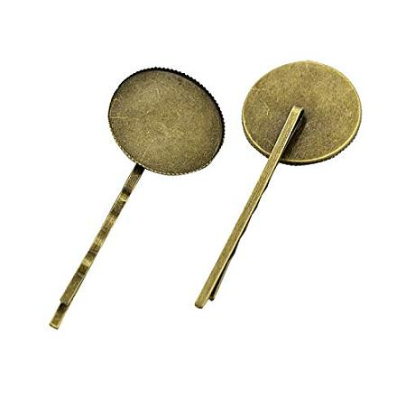 ARRICRAFT 10 pcs Brass Hair Bobby Pin with Flat Round Cabochon Bezel DIY Hair Clips Hairpins Barrettes Clamps for Women, Antique Bronze