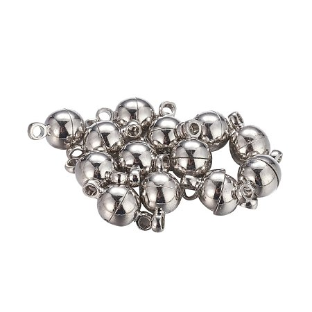 NBEADS 100 Sets Brass Magnetic Clasps, Nickel Free, Round, Platinum, 11.5x6mm, Hole: 1.2mm