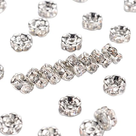 Arricraft 200pcs 4mm Crystal Czech Rhinestone Wavy Spacer Beads Platinum Plated Brass Rondelle Spacer Beads for Jewelry Making