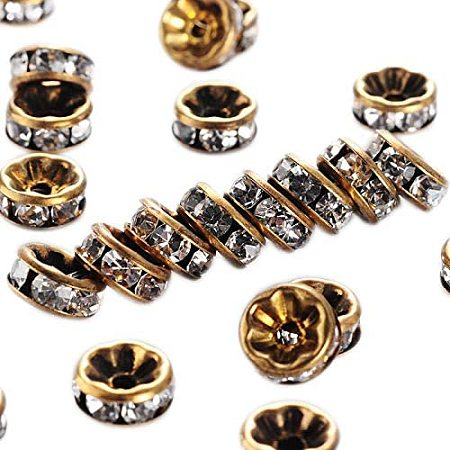 Arricraft 200pcs 1.5mm Brass Rhinestone Spacer Beads Crystal Straight Rondelle Beads Charm Antique Bronze Metal Beads Supplies for Crafts Jewelry DIY Making