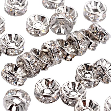 Arricraft 200pcs 8mm Crystal Czech Rhinestone Spacer Beads Platinum Plated Brass Rondelle Spacer Beads for Jewelry Making, Nickel Free