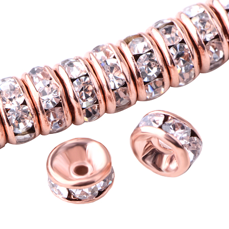PandaHall Elite Rondelle Rose Gold 4x2mm Grade AAA Brass Rhinestone Straight Flange Spacer Beads for Craft Nickel Free