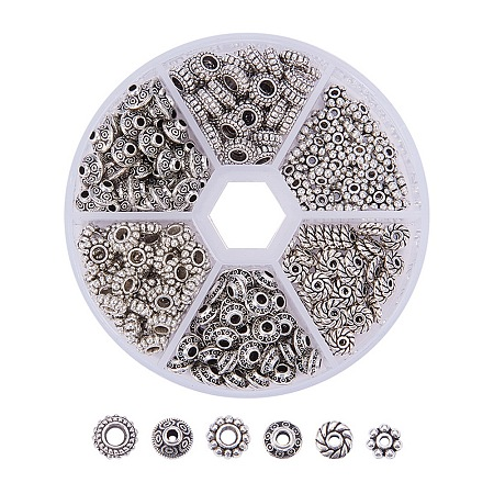 Pandahall Elite Assorted Tibetan Silver Spacer Beads Jewelry Findings Accessories for Bracelet Necklace Jewelry Making, about 300pcs/box