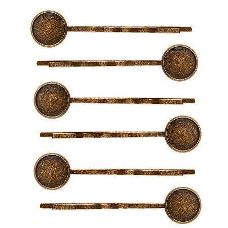 NBEADS 10PCS Antique Bronze Hair Bobby Pins Hair Clips Tray Hair Pins Setting Hairpin Cabochons Bases for Cabochon Cameo DIY Headwear Findings
