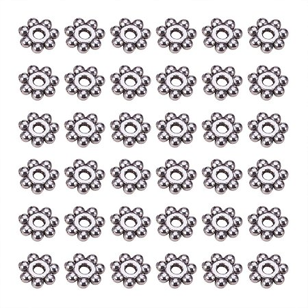 ARRICRAFT 200pcs Antique Silver Tone Retro Style Christmas Snowflake Daisy Spacer Beads for Bracelets DIY jewelry Making, Lead Free Cadmium Free & Nickel Free, about 4mm in diameter, 1.5mm thick, hole: 1mm
