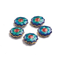 Golden Plated Alloy Beads, with Enamel, Flower, Colorful, 18.5x6mm, Hole: 1.2mm