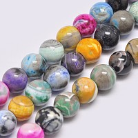 "NBEADS Natural Fire Agate Beads Strands, Dyed & Heated, Round, Mixed Color, 12mm, Hole: 2mm; about 34pcs/strand, 14.96""(38cm)"