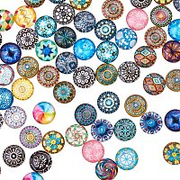 ARRICRAFT 200PCS 12mm Mixed Color Mosaic Printed Glass Half Round/Dome Cabochons for Jewelry Making