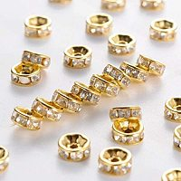 Pandahall Elite 1000pcs 6mm Crystal Rhinestone Spacer Beads Gold Plated Rondelle Spacer Beads for Jewelry Making