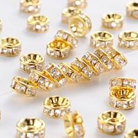 Iron Rhinestone Spacer Beads, Grade B, Rondelle, Straight Edge, Clear, Golden, 7~8x3.5mm, Hole: 2mm
