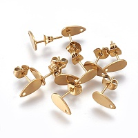 ARRICRAFT Vacuum Plating 304 Stainless Steel Stud Earring Findings, with Flat Plate, Teardrop, Golden, 10x6x0.5mm, Hole: 1mm, Pin: 0.7mm
