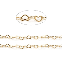 ARRICRAFT Brass Heart Link Chains, Soldered, Long-Lasting Plated, Real 18K Gold Plated, 6x8x0.5mm
