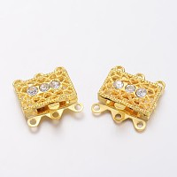 Golden Tone Brass Rhinestone Clasps, Filigree Box Clasps, about 18mm wide, 17mm long, 7mm thick; hole: 1.5mm