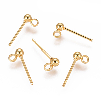 ARRICRAFT 304 Stainless Steel Ear Stud Components, with Loop, Ball, Golden, 14x3mm, Hole: 1.8mm, Pin: 0.7mm