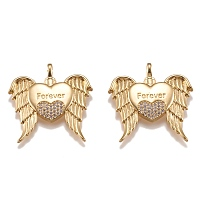 Arricraft Brass Micro Pave Clear Cubic Zirconia Pendants, Long-Lasting Plated, with Jump Rings, Heart with Wings & Word Forever, Golden, 31.3x30.3x3mm, Hole: 4x2.5mm.
