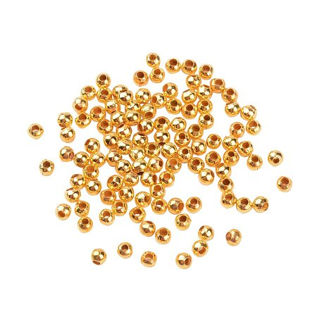 NBEADS 10000Pcs Iron Spacer Beads, Round, Golden, 3mm in diameter, 3mm thick, Hole: 1.2mm